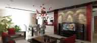 Интерьер гостиной, совмещённой с кухней — столовой