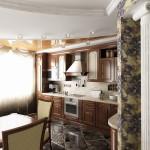 Дизайн квартиры-студии с совмещённой гостиной, кухней и столовой